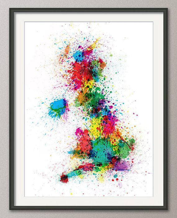 Great Britain UK Map Paint Splashes on Etsy