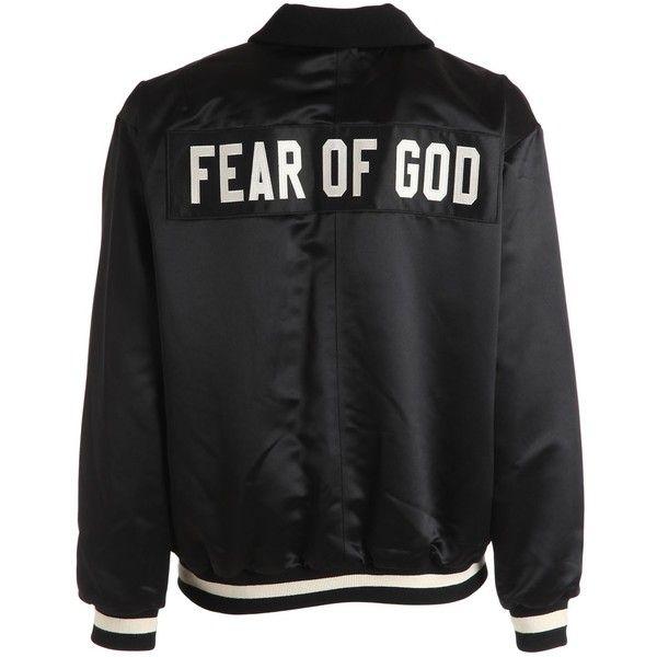 Fear Of God Men Half Zip Satin Bomber Jacket ($1,965) ❤ liked on Polyvore featuring men's fashion, men's clothing, men's outerwear, men's jackets, black, mens fur collar bomber jacket, mens half zip jacket, mens flight jacket and mens blouson jacket