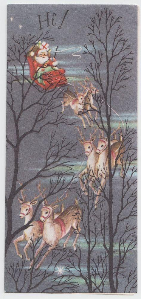 Vintage Christmas Mid Century Greeting Card, Santa & His Reindeer!