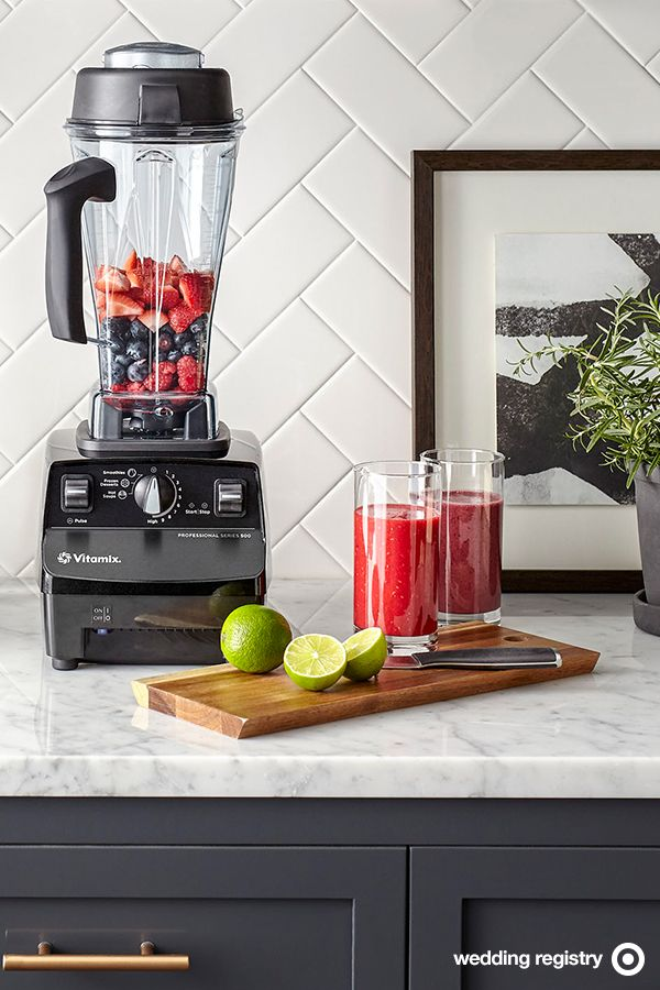 Add Vitamix to the mix of wedding registry must-haves. This powerhouse blender is great for instant, healthy meals like smoothies, hot soups, nut butters and more. A 64-ounce container means you can make batches large enough for hosting family and friends, too.