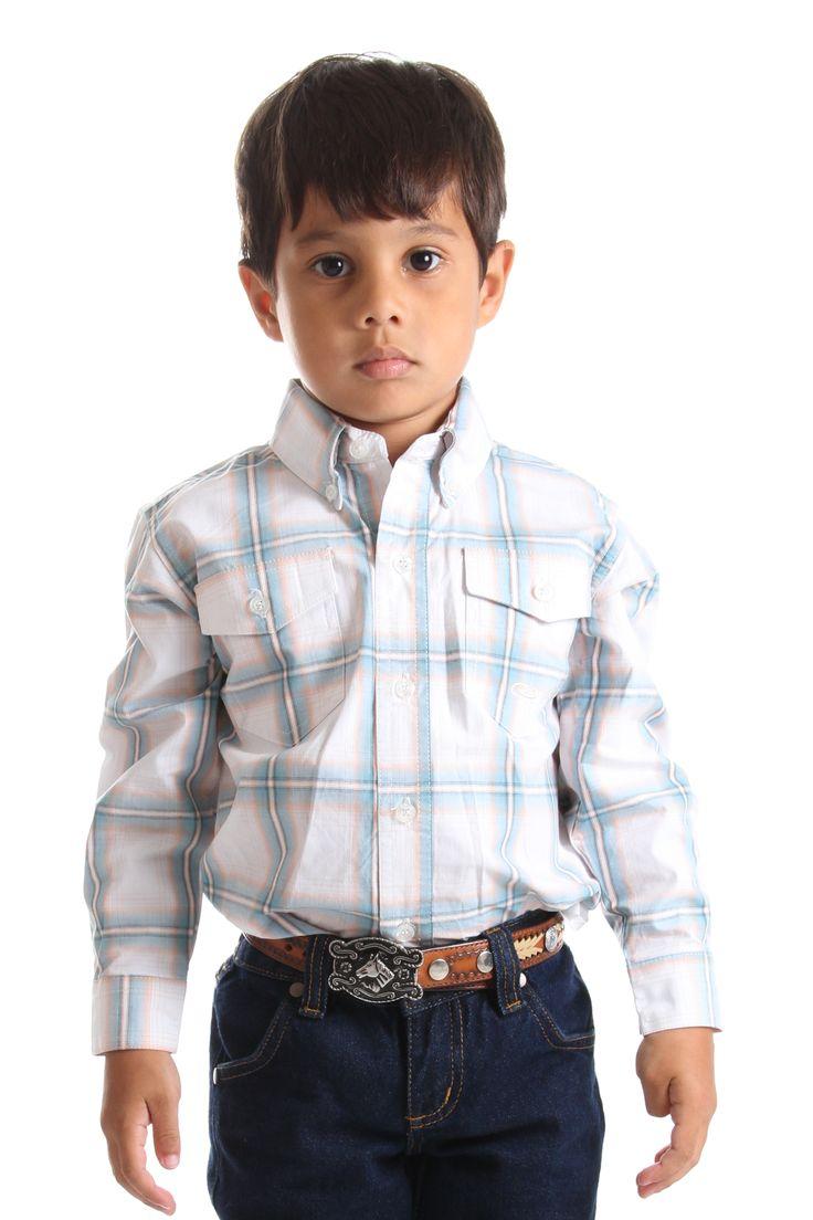 Camisa Dois Bolsos Infantil Manga Longa Roper   camisa infantil masculina xadrez com dois bolsos dianteiros e destaque na cor azul e branca.