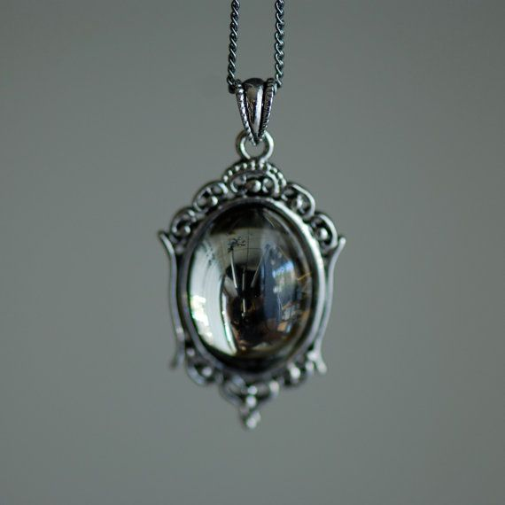 Black Diamond Necklace - VIctorian Goth Vintage Swarovski Crystal Cabochon - 2 Different Chains Materials on Etsy, $22.00