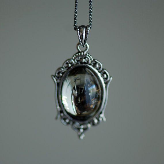 Black Diamond Necklace - VIctorian Goth Vintage Swarovski Crystal Cabochon via Etsy