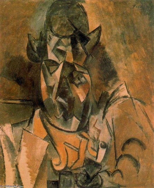 """""""ジョルジュブラックの肖像"""", オイル バイ Pablo Picasso (1881-1973, France)"""
