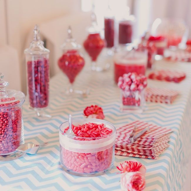A light blue chevron table runner is the perfect backdrop to this simple red candy buffet.   Mademoiselle Fiona Photography   TheKnot.com