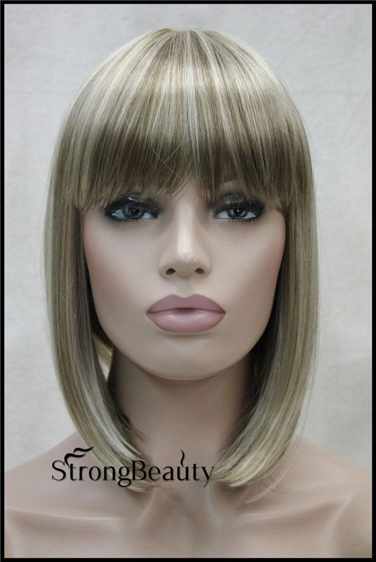 Women Perruque Blond BOB Wigs Synthetic Short Straight Platinum Blonde BOB Wigs High Quality Cheap Sexy Wigs For Black Women