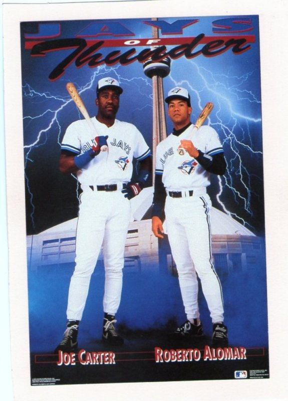 Joe Carter. Roberto Alomar. Design by the Costacos Brothers.