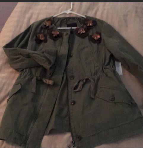 RARE-Banana-Republic-Embellished-Green-Military-Khaki-Jacket-Sz-L-Olivia-Palermo
