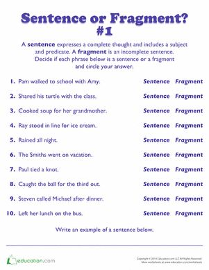 Printables Sentence Fragment Worksheet 1000 ideas about sentence fragments on pinterest kids will read each phrase and decide if its a or fragment this grammar