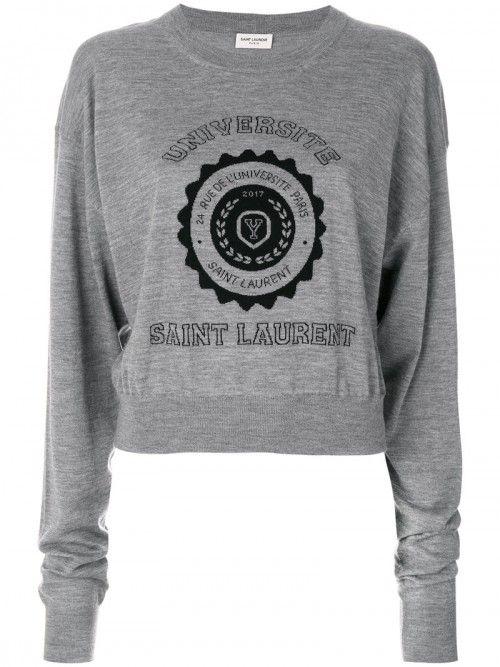 Saint+Laurent+Universit+Jumper+Women+Cashmere+Grey+Cashmere+|+Dress+and+Clothing
