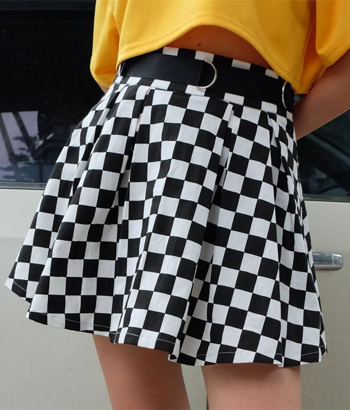 bc2aa2a17a Cool Checker Print Pleated Skirt in 2019 | wishlist | Checker print ...
