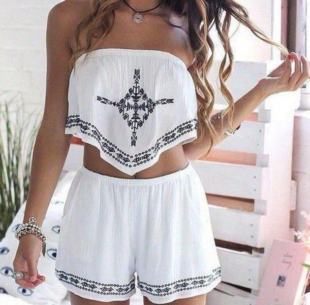 Romper: white boho tribal pattern two-piece shoes black and white shorts embroidered shorts shorts
