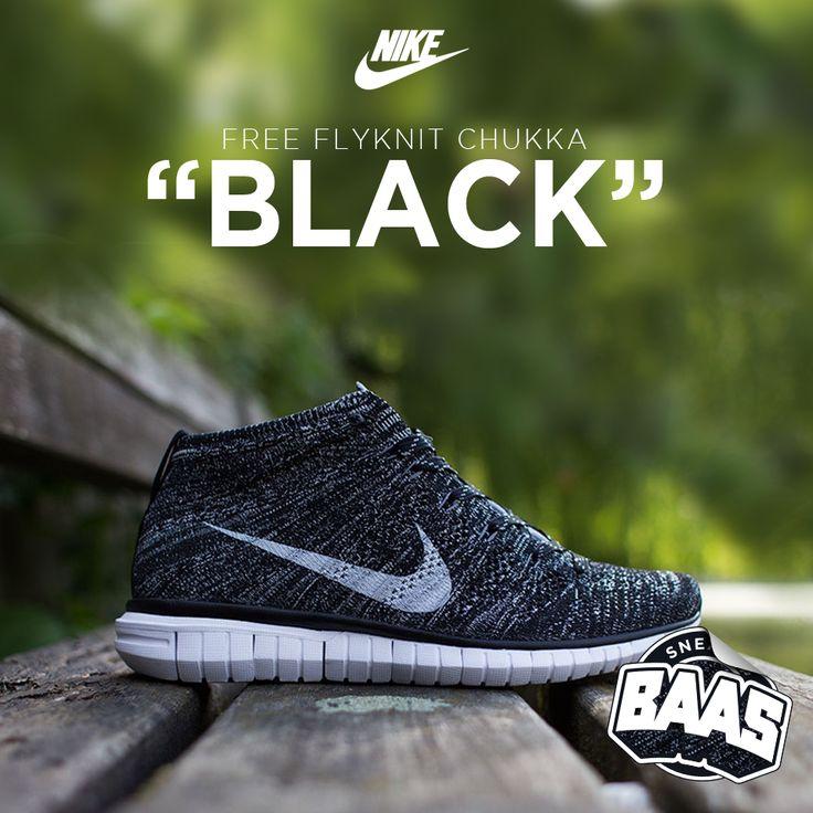 "Nike Free Flyknit Chukka ""Black"" | Now online! The most comfortable kick for this summer! | www.sneakerbaas.nl | #BAASBOVENBAAS #BAAS #CHUKKA #FLYKNIT | 639700-001"