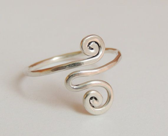 Curly wave wire ring  sterling silver wire gauge 16  by keoops8, $18.00