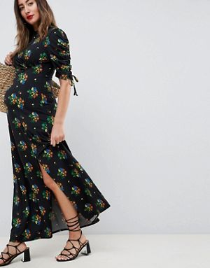 179491a98e760 ASOS DESIGN Maternity city maxi tea dress with split in black floral ...