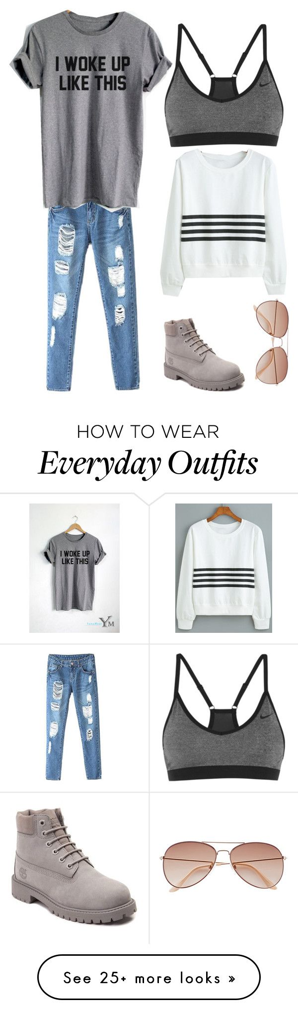 """Everyday outfit"" by libyk on Polyvore featuring NIKE, Timberland and H&M"