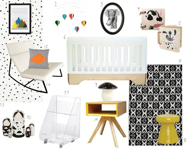 A Black & White Nursery with Color All Over.  Want it all!