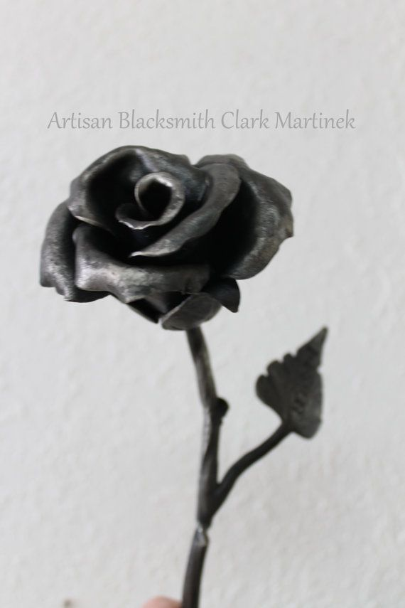 Iron anniversary Rose - Personalized with your date or initials  - Handforged Rose - iron 6th anniversary - Bridesmaids on Etsy, $95.00