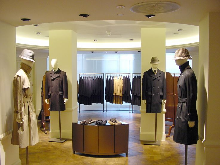 Aquascutum, London - merchandise at the 100 Regent St store, archive photo of Into Lighting's work with Fitch Worldwide