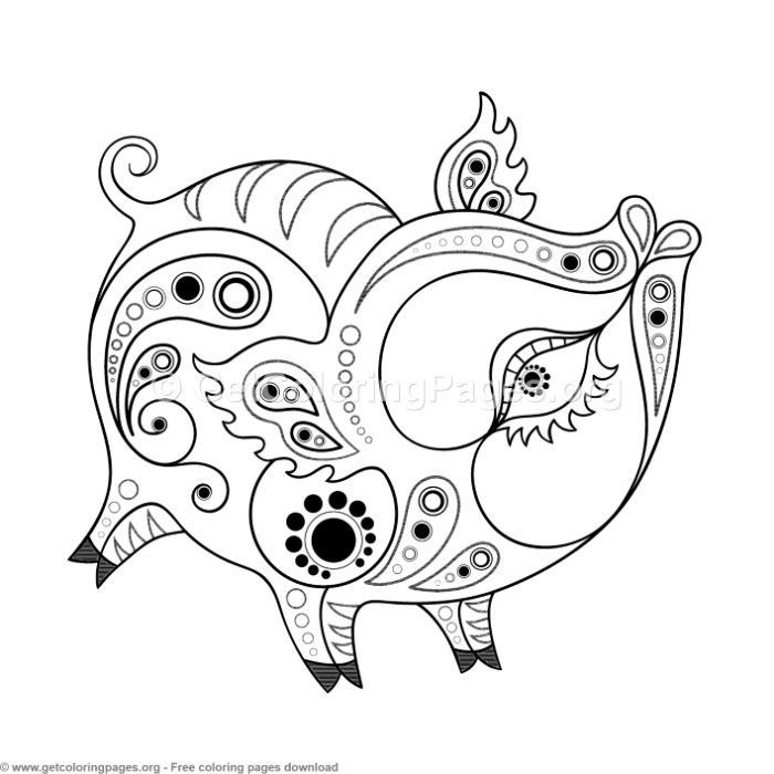 Chinese Horoscope Year Of The Pig Coloring Pages Coloring