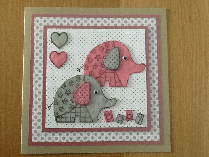 Woodware elephant stamp Baby girl card, or in blue for a boy. The elephants are made from felt.