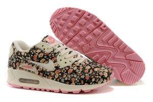 Nuovi arrivi nike donne air max 90 scarpe da corsa nere rosa floral crema fiori prezzi scontati 2015