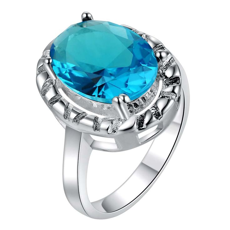 oval blue zircon shiny  Silver plated ring, silver fashion jewelry ring For Women&Men , /FKXULRTG RXLJXTCM