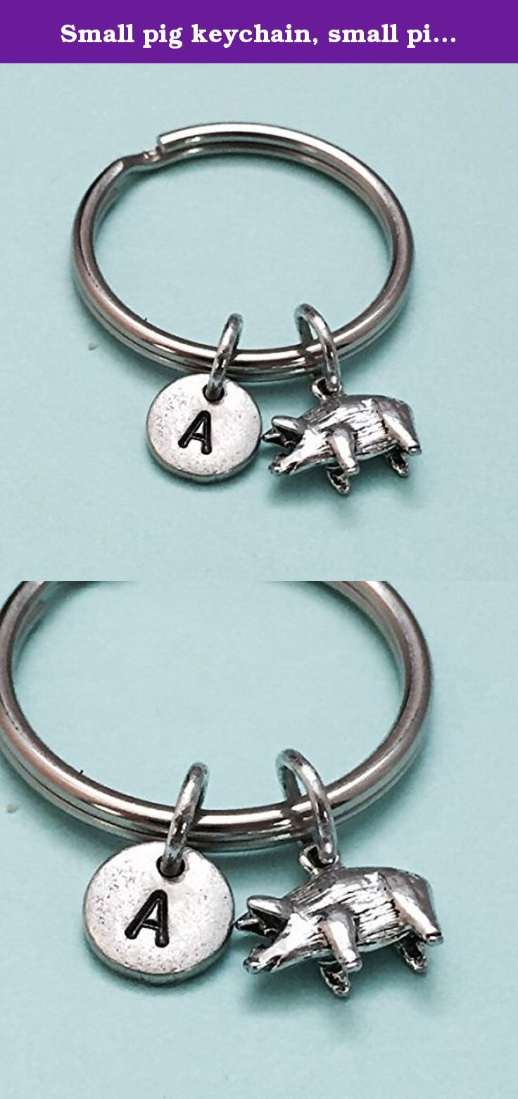 Small pig keychain, small pig charm, animal keychain, personalized keychain, initial keychain, initial charm, customized, monogram. Small pig charm keychain with hand stamped initial *Initial charm is antique silver pewter 9mm *Small pig charm is antique silver pewter *Your purchase will arrive packaged in a cute gift box and I will include a message by request.