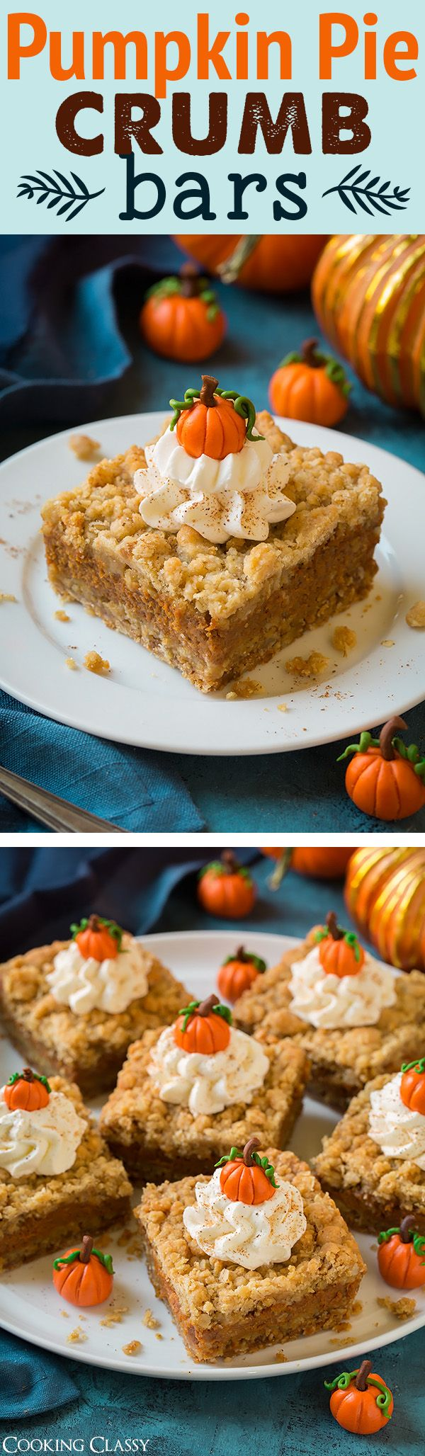 Pumpkin Pie Crumb Bars - one of my FAVORITE fall recipes! Cookie + pie. So good!