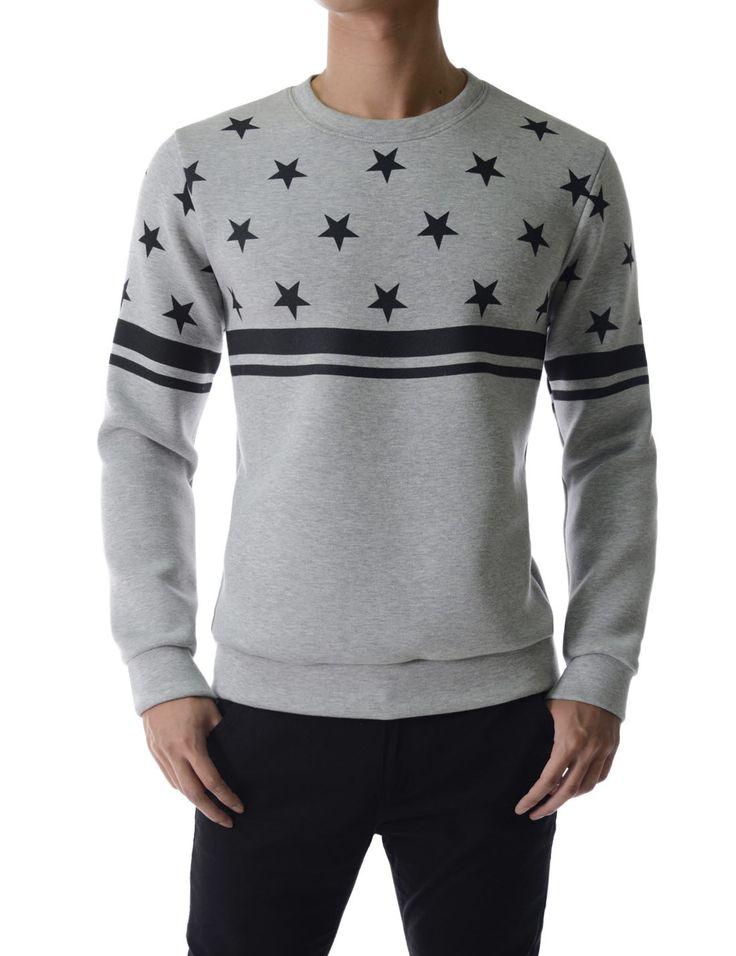 Soft Neoprene Star Graphic Daily Sweatshirts Long Sleeve
