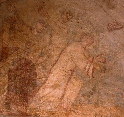 Auxerre. Cryptes de l'ancienne abbatiale Saint-Germain. mi-IXè. oratoire St-Etienne. lapidation.