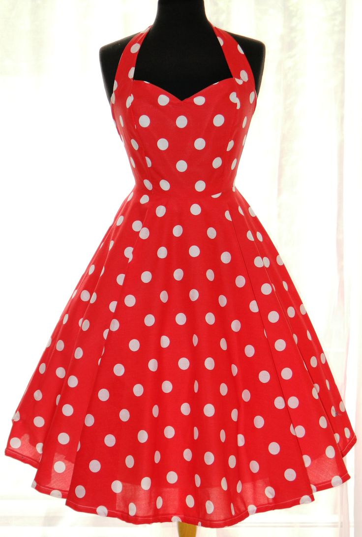 On Sale. Vintage/50s/Rockabily Style Polka Dot Dress, UK size 12. £75.00, via Etsy.