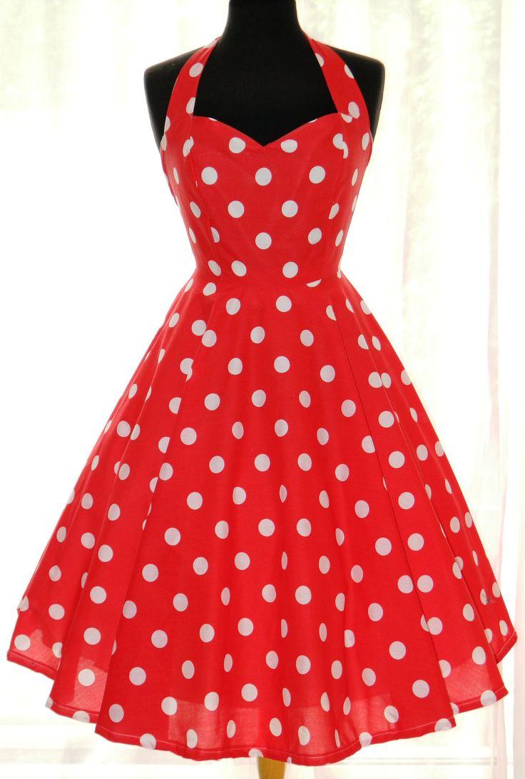 On Sale. Vintage/50s/Rockabily Style Polka Dot Dress, UK size 12. £75.00, via Etsy.