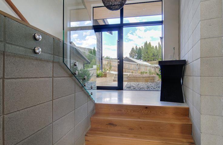Arthur's Point House   Entrance Way Inspiration, Hallway Design Ideas, Interior Concrete, Concrete Staircase   NZ Homes   Build me.   www.buildme.co.nz