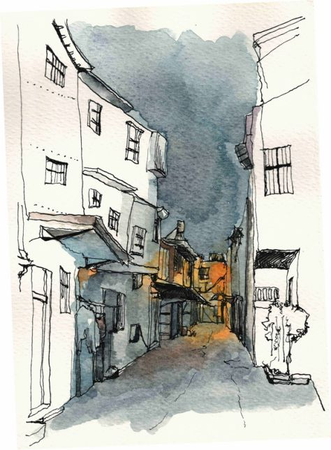 Yiwei Peng - line & wash travel sketching