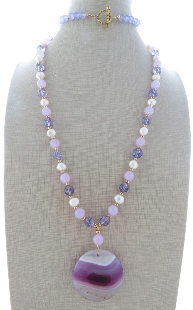 Collana con pendente in agata viola, ametista, giada perle gioielli pietre dure…