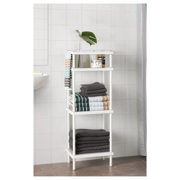 Dynan Shelf Unit With Towel Rail White 15 3 4x10 5 8x42 1 2 Ikea Bathroom Towel Storage Towel Rail Towel Storage