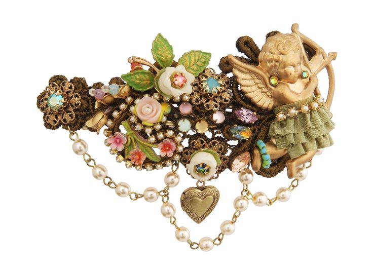 Michal Negrin Jewelry Crystal Flower  Hair Brooch