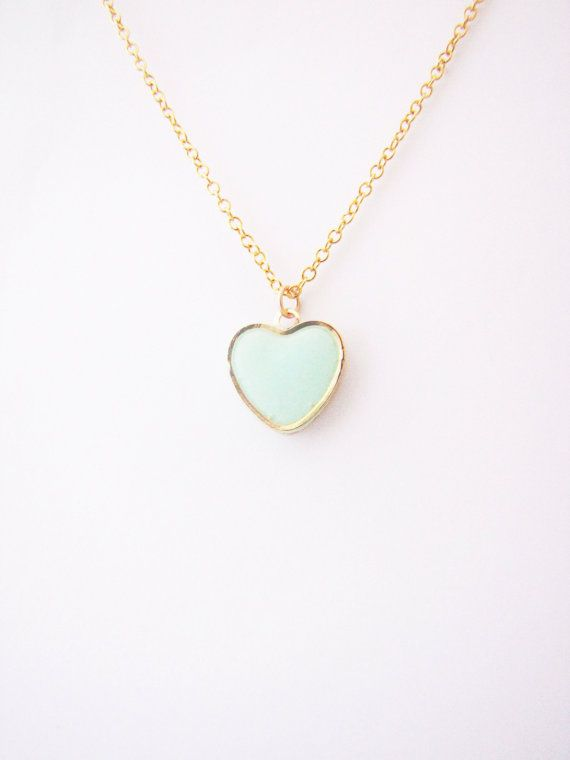 Mint heart  necklace. Minimalistic necklace by Nuann,