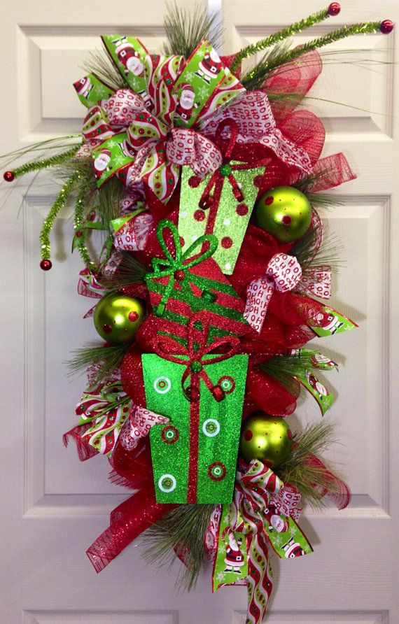 Whimsical Christmas Pine Door Swag by WilliamsFloral on Etsy