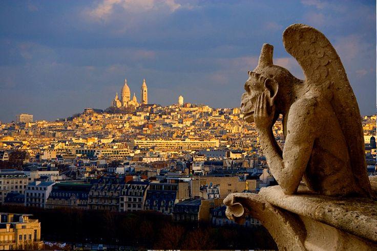 Gargoyle on Notre Dame and Sacre Coeur, Paris, France