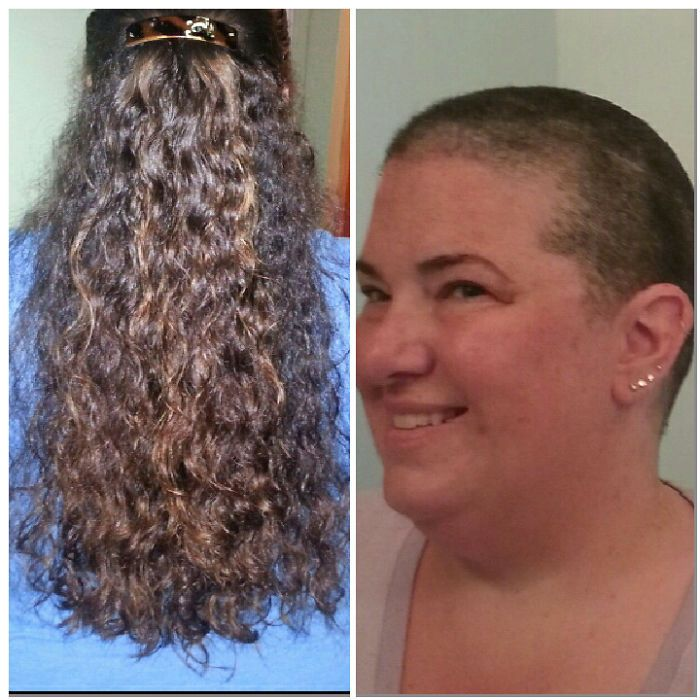 I Shaved Off My Waist-length Hair For A Cancer Fundraiser Called Bald For Bucks In June '14 In Honor Of My Husband Who Has Fought Twice. I Donated The Hair To Wigs For Kids.