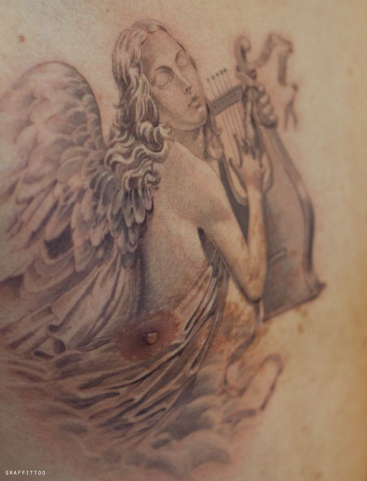 Angel Tattoos by tatuyiseuteu River / Angel Tattoo by Tattooist River / minute tattoo / tattoo angel