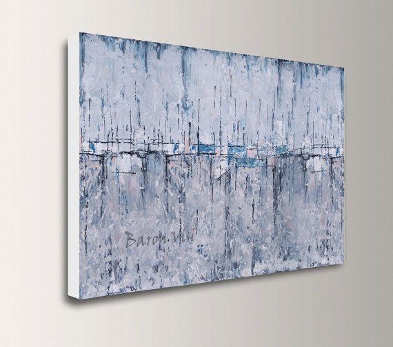 graue Kunst abstrakte Malerei große Leinwand von baronvisi auf Etsy