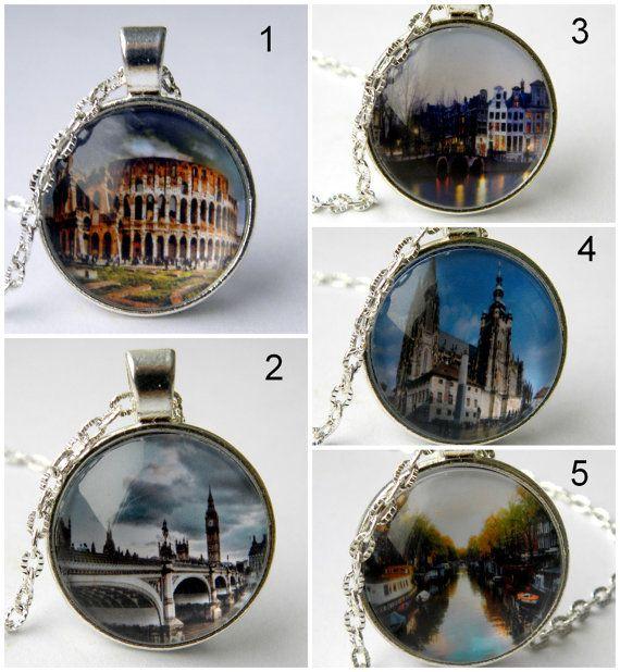 world travel necklace, landmarks, photo necklace, Big Ben Necklace, adventurer gift, points of interest, Colosseum, Rome, Amsterdam, London