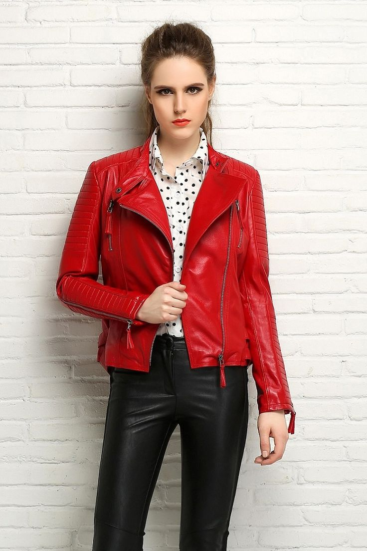 Red leather short jacket – Modern fashion jacket photo blog