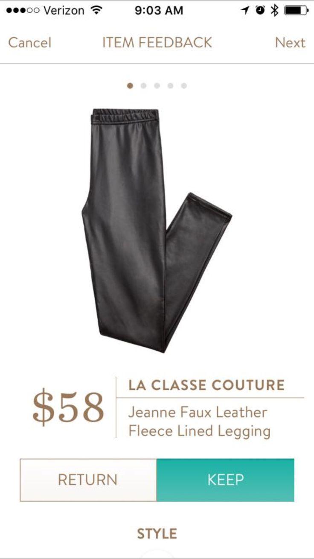 La Classe Couture Jeanne Faux Leather Fleece Legging