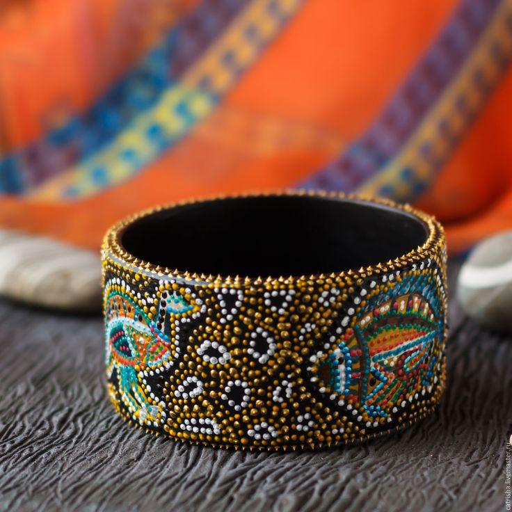 Купить Деревянный браслет Австралия, яркий браслет в стиле бохо этно, широкий