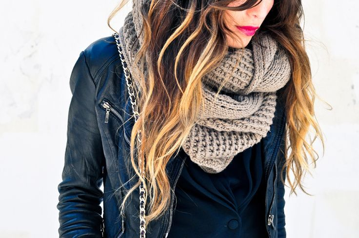leather jacket + chunky scarf + bright lip
