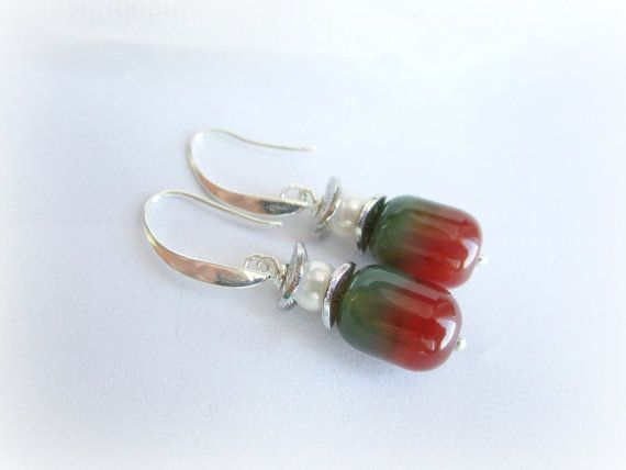 Two tone stone earrings gemstone beaded by MalinaCapricciosa